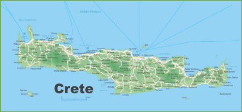 Crete Road Map Free of Charge to quide you